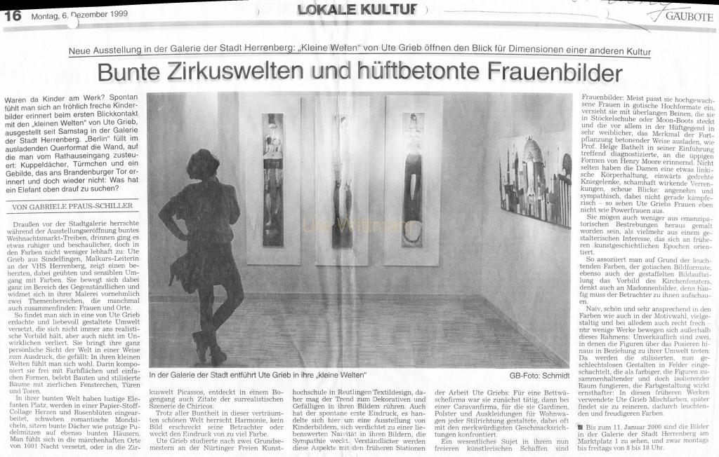 1999.12.06 Zeitungsartikel Ausstellung Herrenberg