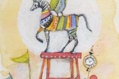 kleiner vogel und pferd